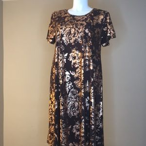 LuLaRoe Elegance Collection Carly Dress Brown Gold